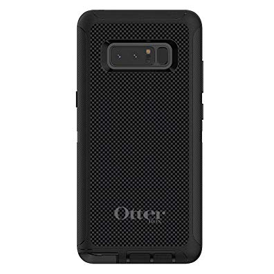 DistinctInk Case for Galaxy Note 8 - OtterBox Defender Black Custom Case - Black Grey Carbon Fiber Printed Design