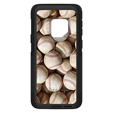 Galaxy S9 Plus OtterBox ® Commuter Black Custom Case By DistinctInk - Old Baseballs - Show Your Love of Baseball