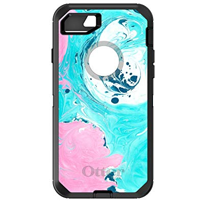 DistinctInk Case for iPhone 7 PLUS / 8 PLUS - OtterBox Defender Black Custom Case - Blue Pink White Marble Image Print - Printed Marble Image