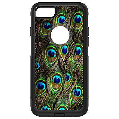 DistinctInk Case for iPhone 7 PLUS / 8 PLUS - OtterBox Commuter Black Custom Case - Peacock Feathers - Animal Print