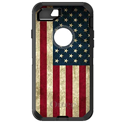 DistinctInk Case for iPhone 7 / iPhone 8 (NOT Plus) - OtterBox Defender Black Custom Case - Red White Blue United States Flag Old - Show Your Love of the United States of America
