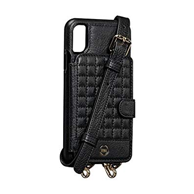 Isa Crossbody Snap On Leather Wallet Case (Black, for iPhone X)