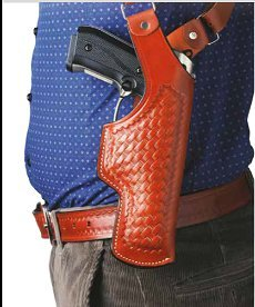 Vertical Shoulder Holster, leather shoulder holster basketweave patterned
