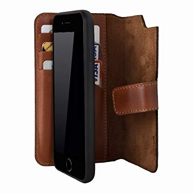iPhone 6/iPhone 6S Leather Case by Burkley, Magnetic Detachable Wallet Folio Case made from Genuine Leather with Snap On Cover for Apple iPhone 6 and iPhone 6S (Burnished Tan)