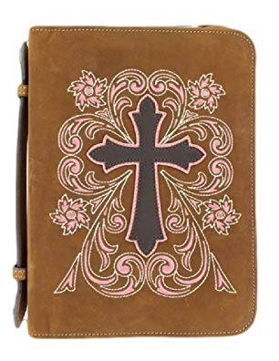 M & F Western Unisex Cross Embroidered Leather Bible Cover Brown One Size