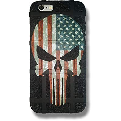 LIMITED EDITION - Authentic Made in U.S.A. Magpul Industries Field Case for Apple iPhone 5,5s and iPhone SE (Stippled Black, Punisher (USA Flag)