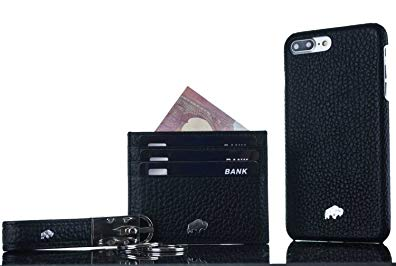 Burkley Case Special Luxury Leather Gift Set for Apple iPhone 8 plus/7 plus | Includes Leather Snap-on Case, Slim Card Holder & Keychain | Hand-wrapped in Premium Turkish Leather