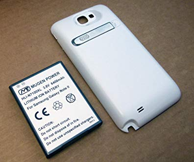 Mugen Power Super Extended 6400mAh Battery for Samsung Galaxy Note II w / White Cover / Leather Case