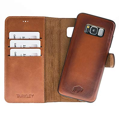 Samsung Galaxy S8+ PLUS Leather Case by Burkley, Magnetic Detachable Leather Wallet Folio Case with Snap-on Cover for Samsung Galaxy S8+ PLUS | Book-like Design (Burnished Tan)