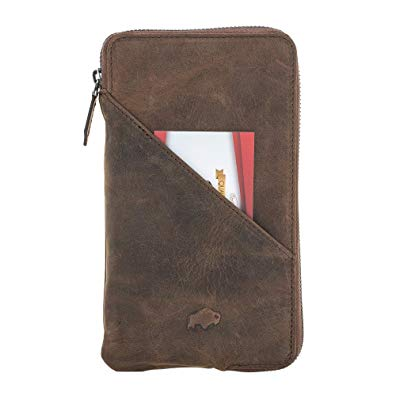 Burkley Case Leather Pouch Wallet Case for Universal Model (5.5 inch screen size and smaller) | Apple iPhone 8 plus/ 7 plus Wallet Case | Antique Coffee