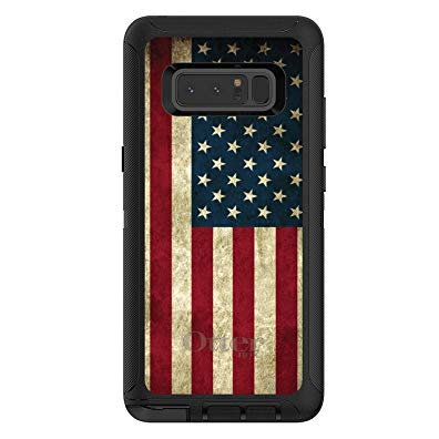 DistinctInk Case for Galaxy Note 8 - OtterBox Defender Black Custom Case - Red White Blue United States Flag Old - Show Your Love of the United States of America