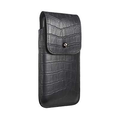 Blacksmith-Labs Barrett Mezzano 2017 Premium Genuine Leather Swivel Belt Clip Holster for Apple iPhone 7 Plus for use with Apple Leather Case - Black Croc Embossed Cowhide/Gunmetal Belt Clip