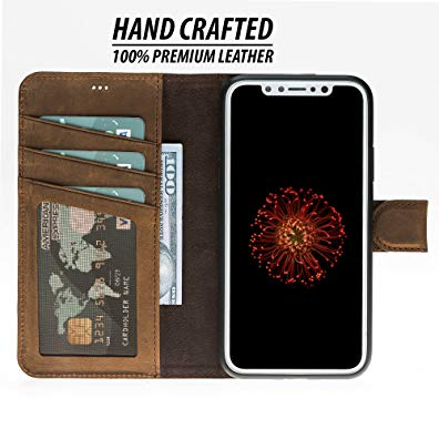 iPhone X Case by Burkley, Detachable Leather Wallet Case for Apple iPhone X with Magnetic Closure and Premium Snap-on | Book Style Cover with Card Holders and Kickstand in a Gift Box | Antique Coffee