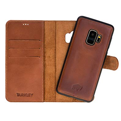 Samsung Galaxy S9 Leather Case Magnetic Detachable Leather Wallet Folio Case with Snap-on Cover for Samsung Galaxy S9 | Book-like Design | Hand-wrapped in Premium Turkish Leather (Burnished Tan)